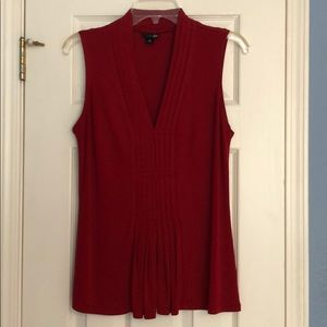 Red Pleated Sleeveless Top